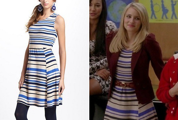 Dianna Agron's Striped Sweater Dress on 'Glee'