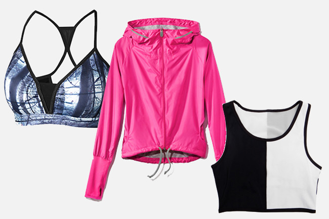 (Feats of Strength Pack Leader Top, $38; Free Climber Shell Windbreaker in Pink, $128; Domino Top, $38)