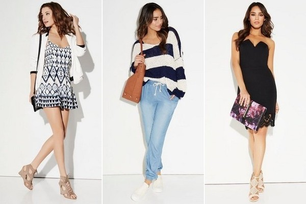 JustFab Printed Romper, $40; Nautical Stripe Sweater, $45; Chambray Track Pant, $35; Strapless Low-V Dress, $40