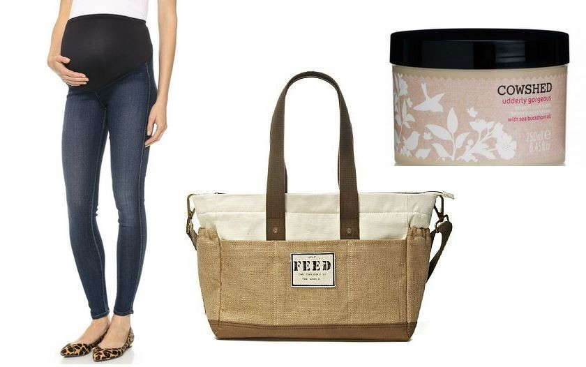 Citizens of Humanity Maternity Koi Denim Leggings, $168 at Shopbop. FEED Diaper Bag, $150 at FEED. Cowshed Udderly Gorgeous Stretch Mark Balm $33 at Cowshed.