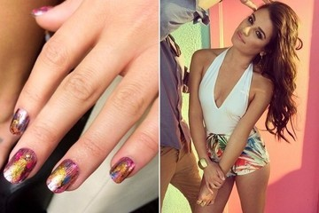 We've Got The Exact Nail Colors Used For Lea Michele's Foil Rainbow Mani