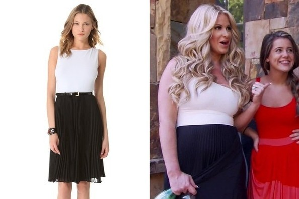 A Black and White Pleated Dress Like Kim Zolciak's on 'Don't Be Tardy'