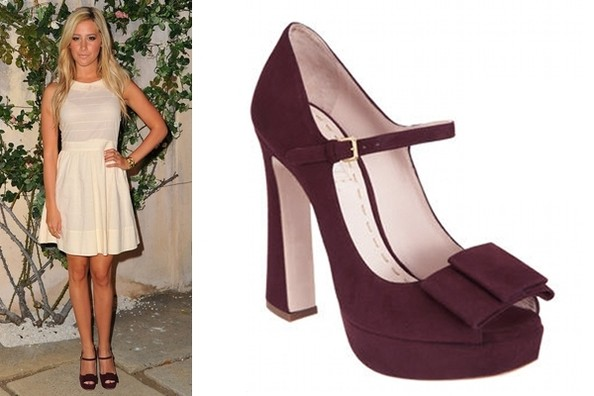 Plum Perfect: Ashley Tisdale in Miu Miu Pumps