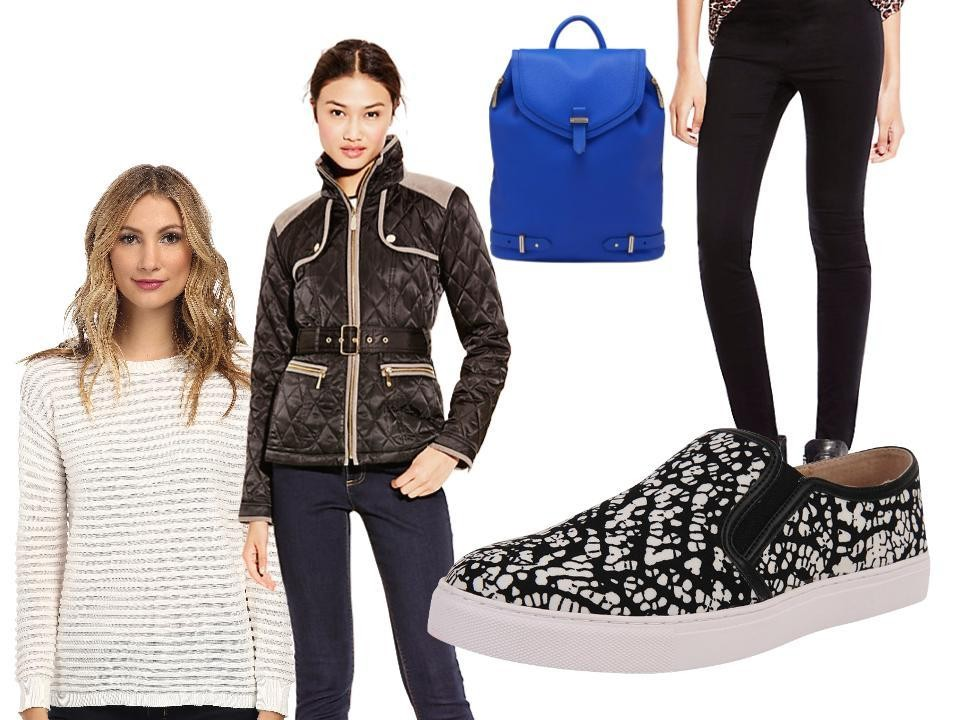 Vince Camuto Long Sleeve Ottoman Stitch Sweater (similar), $89, at zappos.com; Transitional Quilted Jacket, $138, at Vince Camuto; Robyn Backpack, $298, at Vince Camuto; Black Classic Legging, $64, at Vince Camuto; and Kate Sneaker, $79, at shoptheshoebox.com