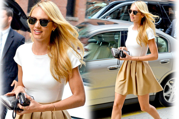 Look of the Day: Candice Swanepoel's Fit-and-Flare Street Style