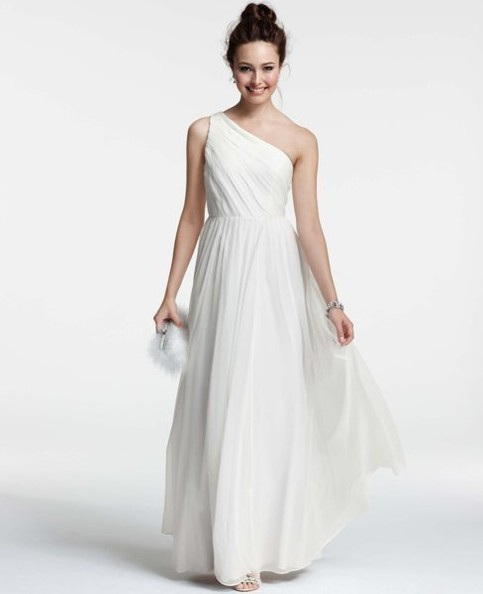 Ann taylor silk georgette pleated one shoulder gown 150 wedding 150 wedding dresses you can buy online ann taylor junglespirit Image collections