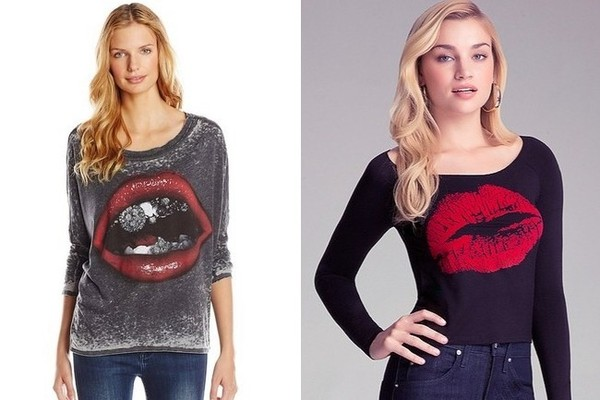 Chaser Lips Long Sleeve Dolman Top in Black, $68, at amazon.com; Bebe Kiss Tee in Black, $34, at Bebe
