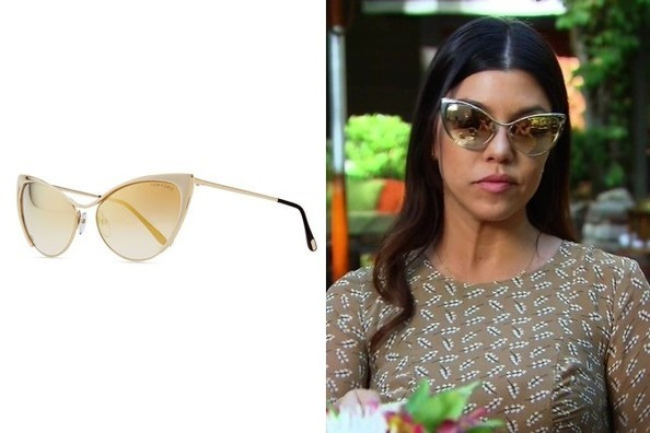 Reflective Cat Eye Sunglasses  kourtney kardashian s gold mirrored cat eye sunglasses on keeping