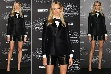 How Chic is Karolina Kurkova's Makeshift Tuxedo?