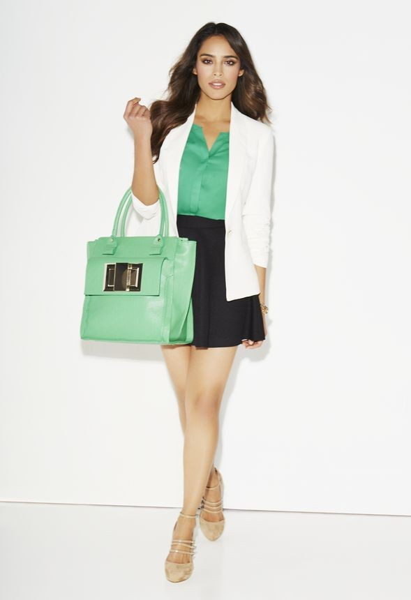 JustFab Tailored Classic Blazer, $59; Cap Sleeve Button Down, $39; and Fit and Flare Skirt, $49