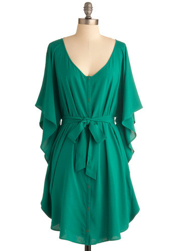 A Festive Forest-Green Flared-Sleeve Dress