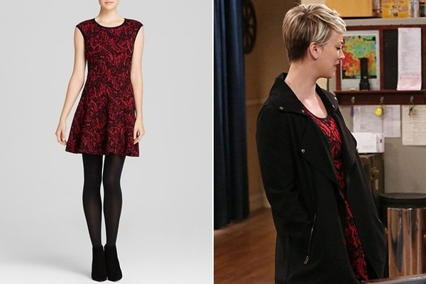 Kaley Cuoco Sweetings Black And Red Floral Print Dress On The Big