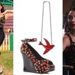 Janel Parrish's Cherry-Print Top and Wedges, Black Leggings and Red Bird Necklace on 'Pretty Little Liars'