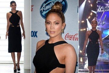Jennifer Lopez's Black Cutout Cocktail Dress on 'American Idol'
