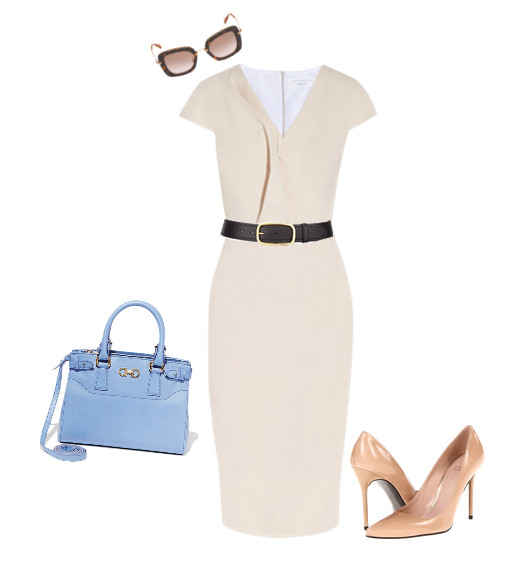 Victoria Beckham Belted Draped Stretch Cotton-Blend Dress, $2,195, at net-a-porter.com; Prada Tumbled Leather Belt, $370, at Neiman Marcus; Salvatore Ferragamo Small Double Gancio Tote, $1,390, at Salvatore Ferragamo; Stuart Weitzman Nouveau Pump, $365, at zappos.com; Miu Miu Sunglasses, $390, at Miu Miu