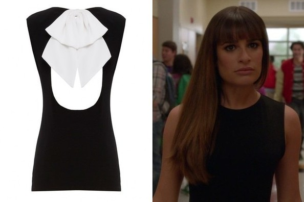 Lea Michele's Black Open-Back Blouse with White Bow on 'Glee'