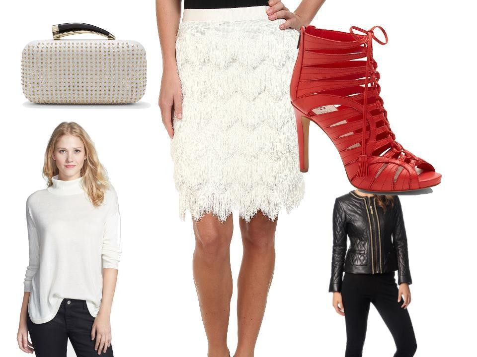 Vince Camuto Horn Clutch, $178, at Vince Camuto; Pencil Skirt with Herringbone Tiered Fringe, $71, at 6pm.com; Narrital Gladiator Heels in Cherry Red Solf Calf, $149, at Vince Camuto; Leather Quilted Chain Detail Jacket, $326, at overstock.com; Oversize Turtleneck Sweater in Vanilla, $89, at Nordstrom