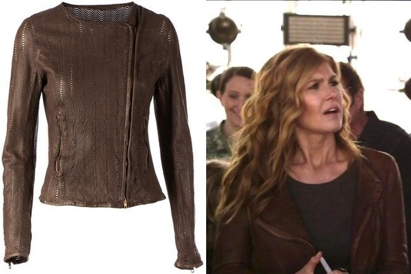 Connie Britton's Brown Textured Leather Jacket on 'Nashville'