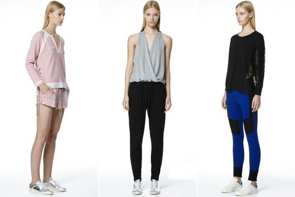 Ramy Brook Eve Pullover in Bolden Berry, $135; and Taye Short in Bolden Berry, $125; Jodi Jumpsuit in Black/Cloud, $175; Frankie Top in Black, $125; and MJ Legging, $135; at Ramy Brook