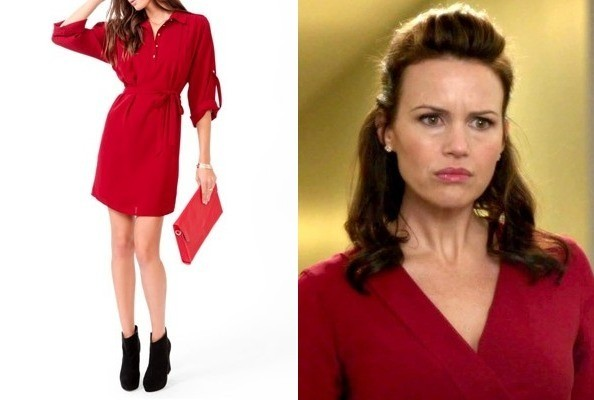 Carla Gugino's Red Shirtdress on 'New Girl'