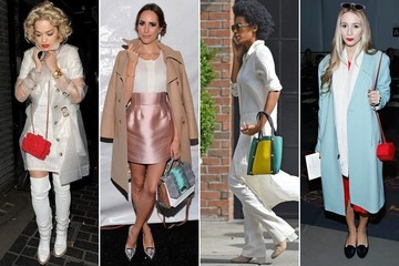 Simple Styling Trick to Try: Pair a Bright Handbag With a Pale-Color Ensemble