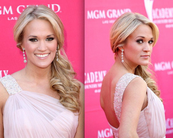 Carrie Underwood Side Hairstyle. Side-Swept Ponytail. Carrie