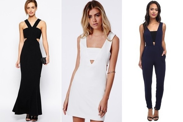 Jarlo Petite Daciana Cut Out V Neck Maxi Dress, $179, at asos.com; Missguided Fay Cut Out V Neck Bodycon Dress, $50, at missguidedus.com; BCBGeneration Knit Sportswear Jumper, $98, at zappos.com