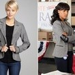 Kerry Washington's Leather-Elbow-Patch Herringbone Jacket