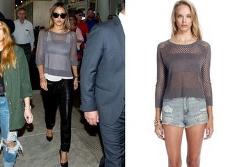 Found: Jessica Alba's Open-Weave Sweater