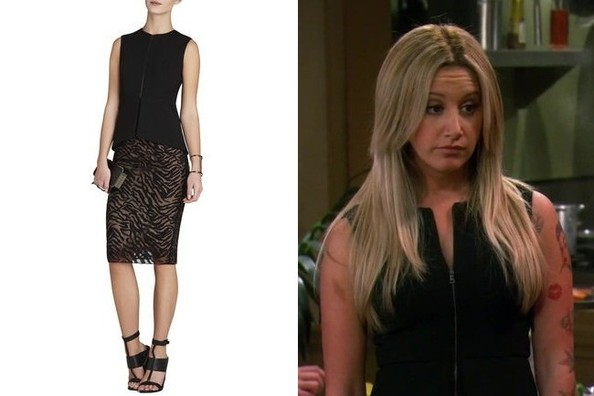 75d151a53bb47 Ashley Tisdale s Black Zip-Up Peplum Top on  Young   Hungry  - TV ...