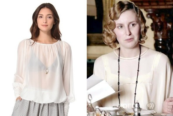 Laura Carmichael's Long Sleeve Silk Blouse on 'Downton Abbey'