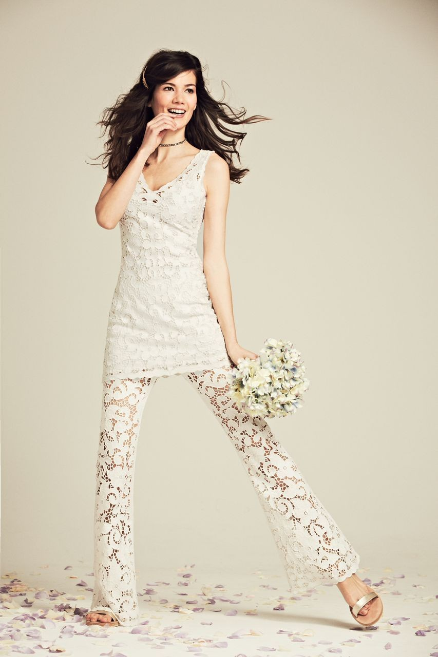 Calypso St. Barth Kagami Linen Eyelet Dress, $495; Pemada Eyelet Embroidered Linen Pant, $395