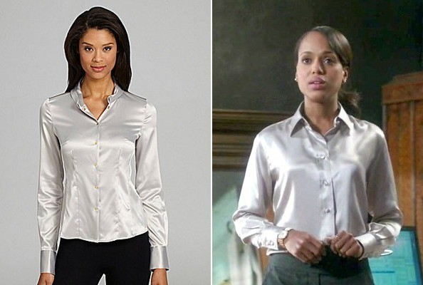 A Silver Satin Blouse Kerry Washington's on 'Scandal'