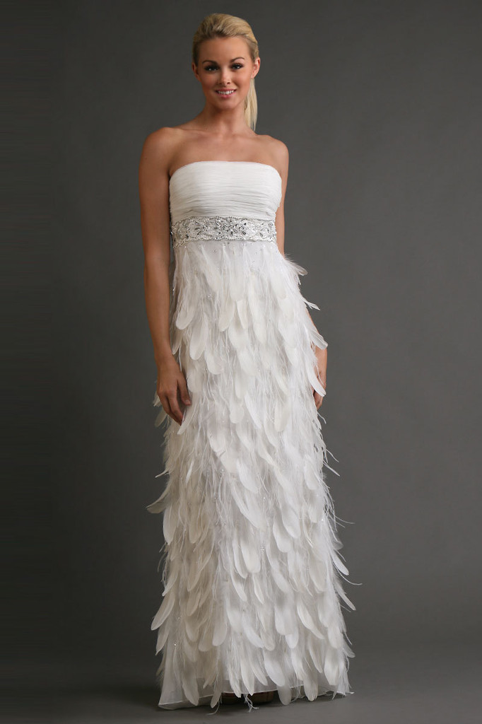 Sue Wong Antique Beaded Empire Feather Gown 150 Wedding