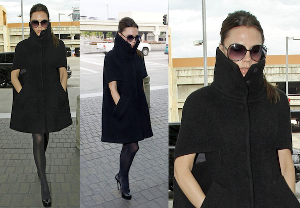 Victoria Beckham Bundles up in Giambattista Valli at the Airport