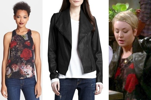 Kaley Cuoco-Sweeting's Floral-Print Tank and Black Leather Jacket on 'The Big Bang Theory'