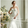 David's Bridal Collection Fit-and-Flare Sweetheart Gown with Allover Beading