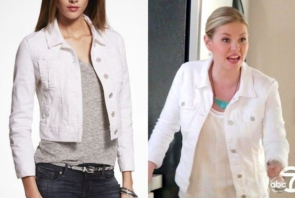 Elisha Cuthbert's White Jean Jacket on 'Happy Endings'