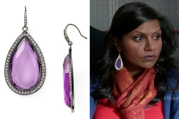 Purple Drop Earrings Like Mindy Kaling's on 'The Mindy Project'