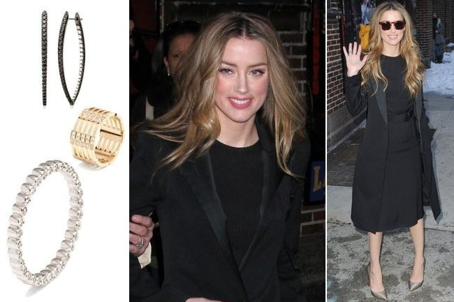 Amber Heard on 'Late Show with David Letterman' - TV Fashion Roundup