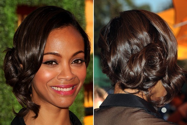 Hair Idea: Zoe Saldana's Simple Twisted Bun