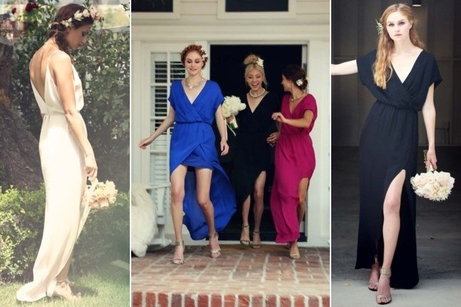 MAID by Yifat Oren for Rory Beca Harlow Deep V-Back Bridesmaid Gown in Nude, $271; Plaza Overlap Bridesmaid Gown in Royal, Onyx and Magenta, each $280, at rorybeca.com (Source: Rory Beca)