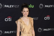 Look of the Day: Tatiana Maslany's Golden Stripes