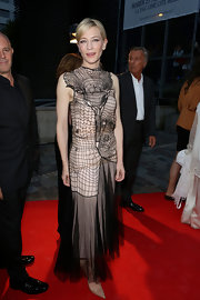 Cate went for Gothic elegance when she donned this nude dress with sheer black netting.