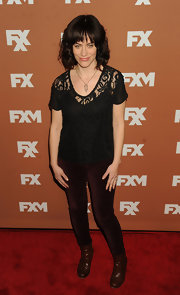 Maggie Siff chose a black lace blouse for her casual red carpet look.