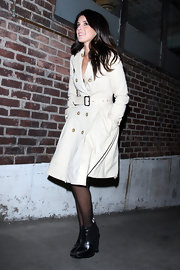 Shenae Grimes put a modern spin on her classic look with black leather wedge booties.