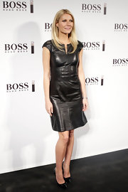 Gwyneth Paltrow looked chic and edgy in this black leather dress at the Hugo Boss photocall in Madrid.