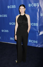 Julianna dons a high-waisted black pant for the CBS Upfront event.