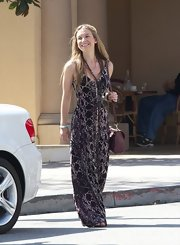 Nathalia Ramos chose a printed maxi for her hippie-inspired daytime look while out shopping in LA.