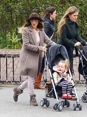 SJP boots were made for walking, and that's just what she did in them on the way to her kids' school.
